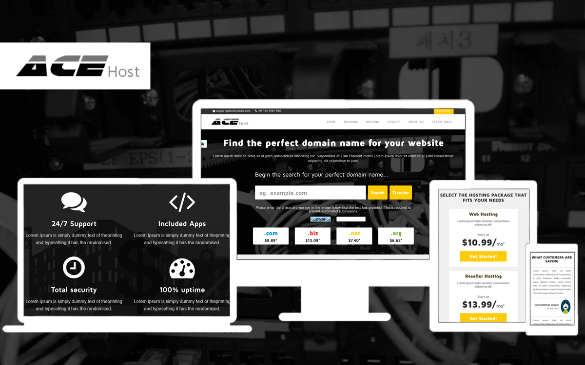 AceHost Responsive WHMCS Theme