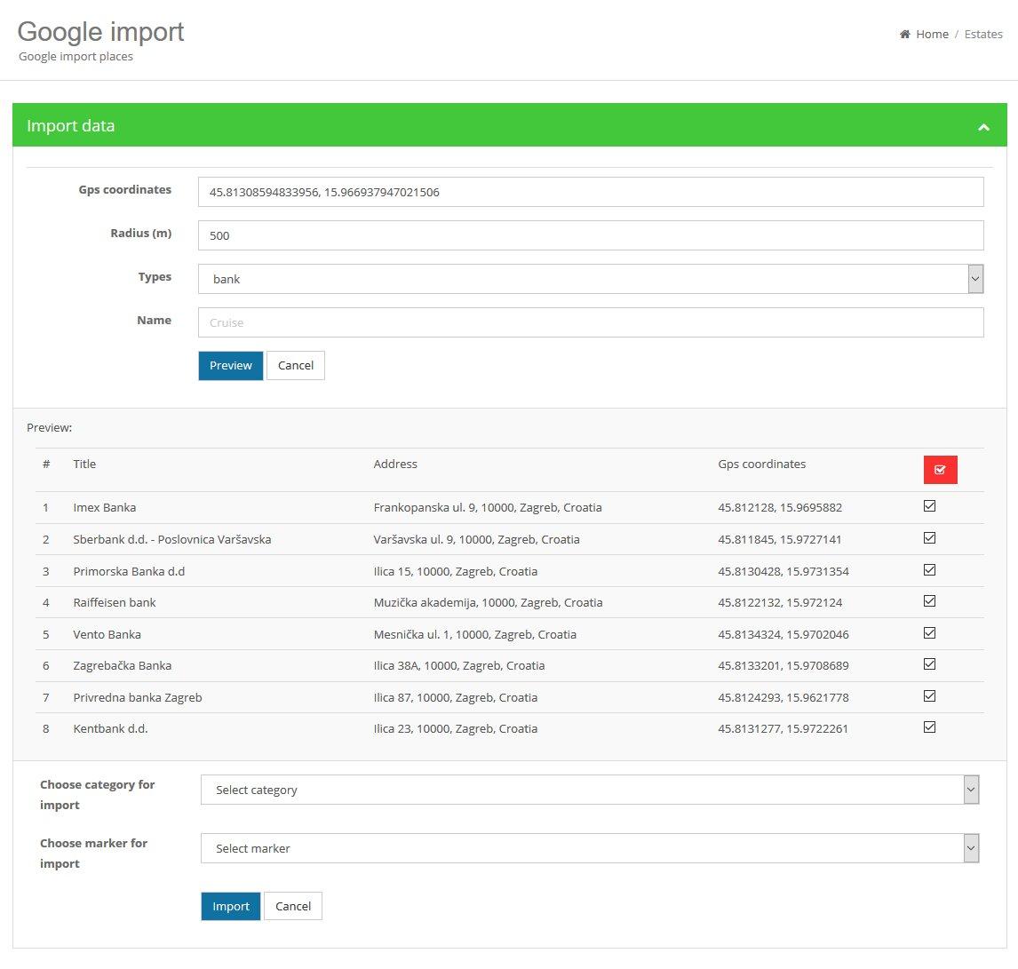 Agencia Imobiliária - Guia da cidade - Importação de locais / empresas do Google Script