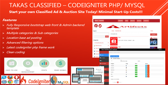 Classificados de anúncio - Takas  Codeigniter PHP Script