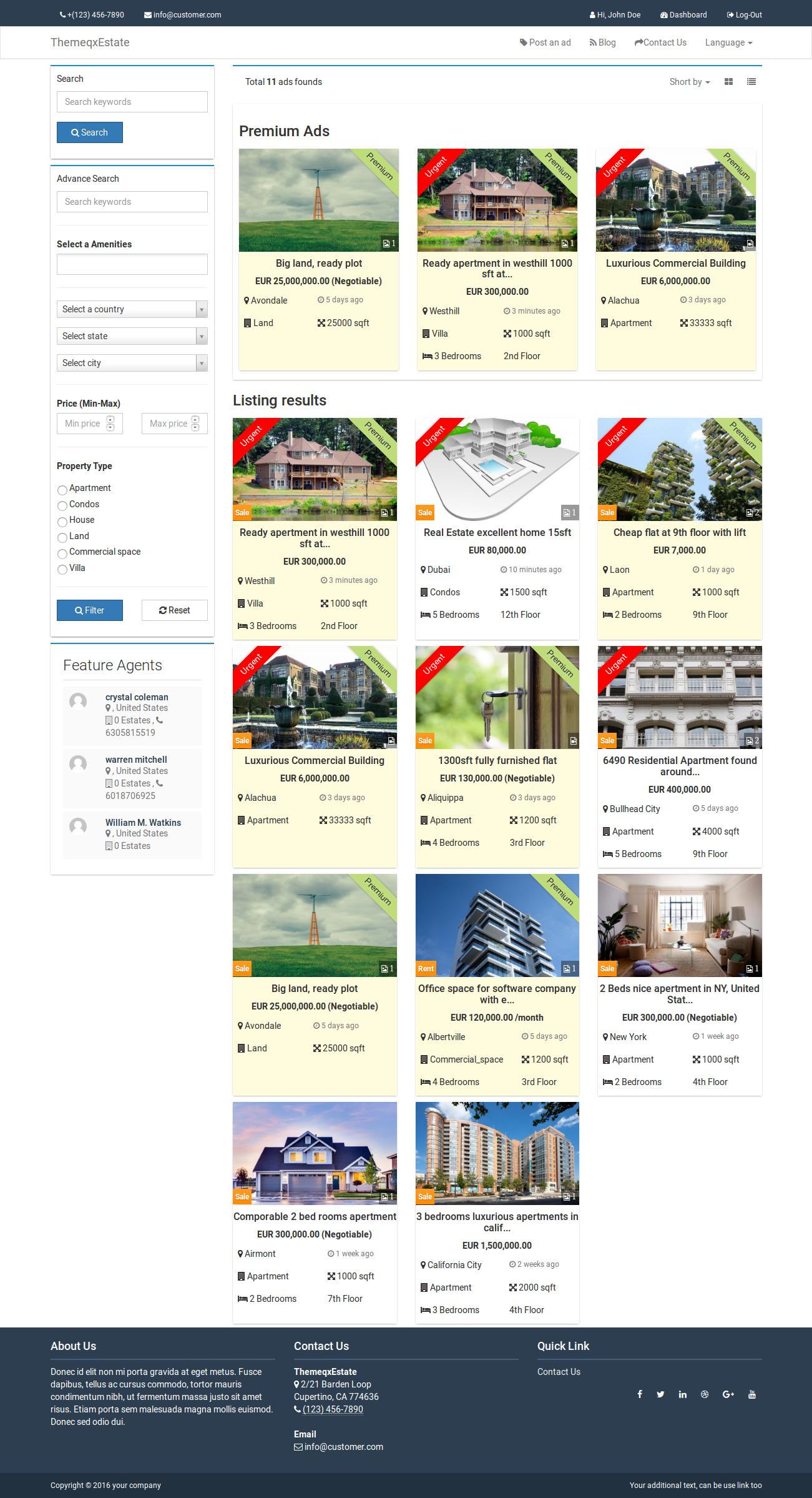 Agencia Imobiliária - ThemeqxEstate - Portal de Listagem de Imóveis do Laravel Script